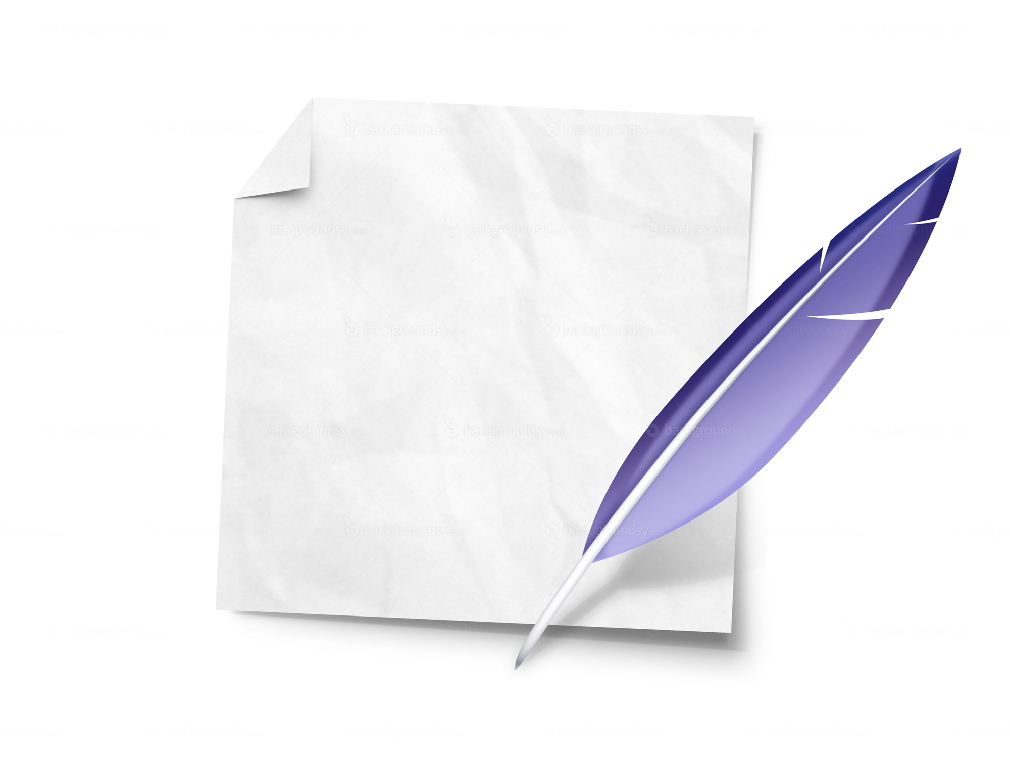 Feather quill and paper note (PNG)   Backgroundsy.com