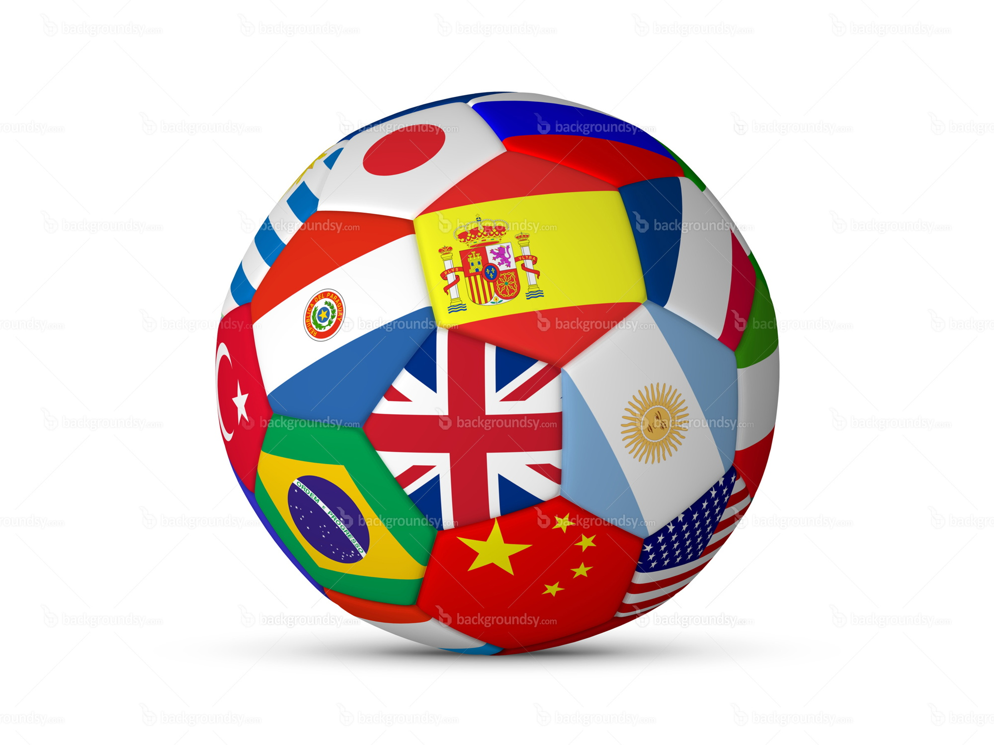 Football ball with flags | Backgroundsy.com