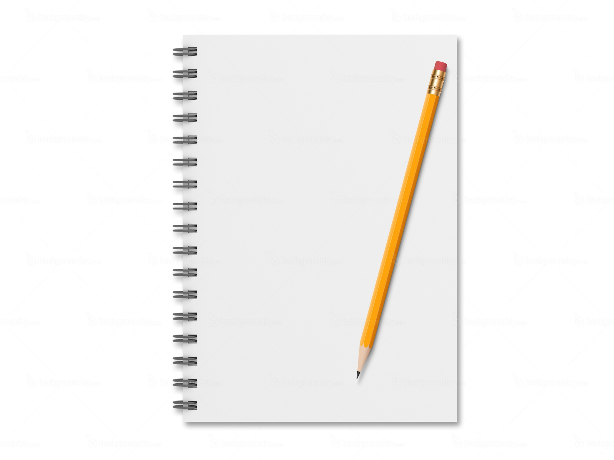 Notebook With Pencil  Notepad Paper Template