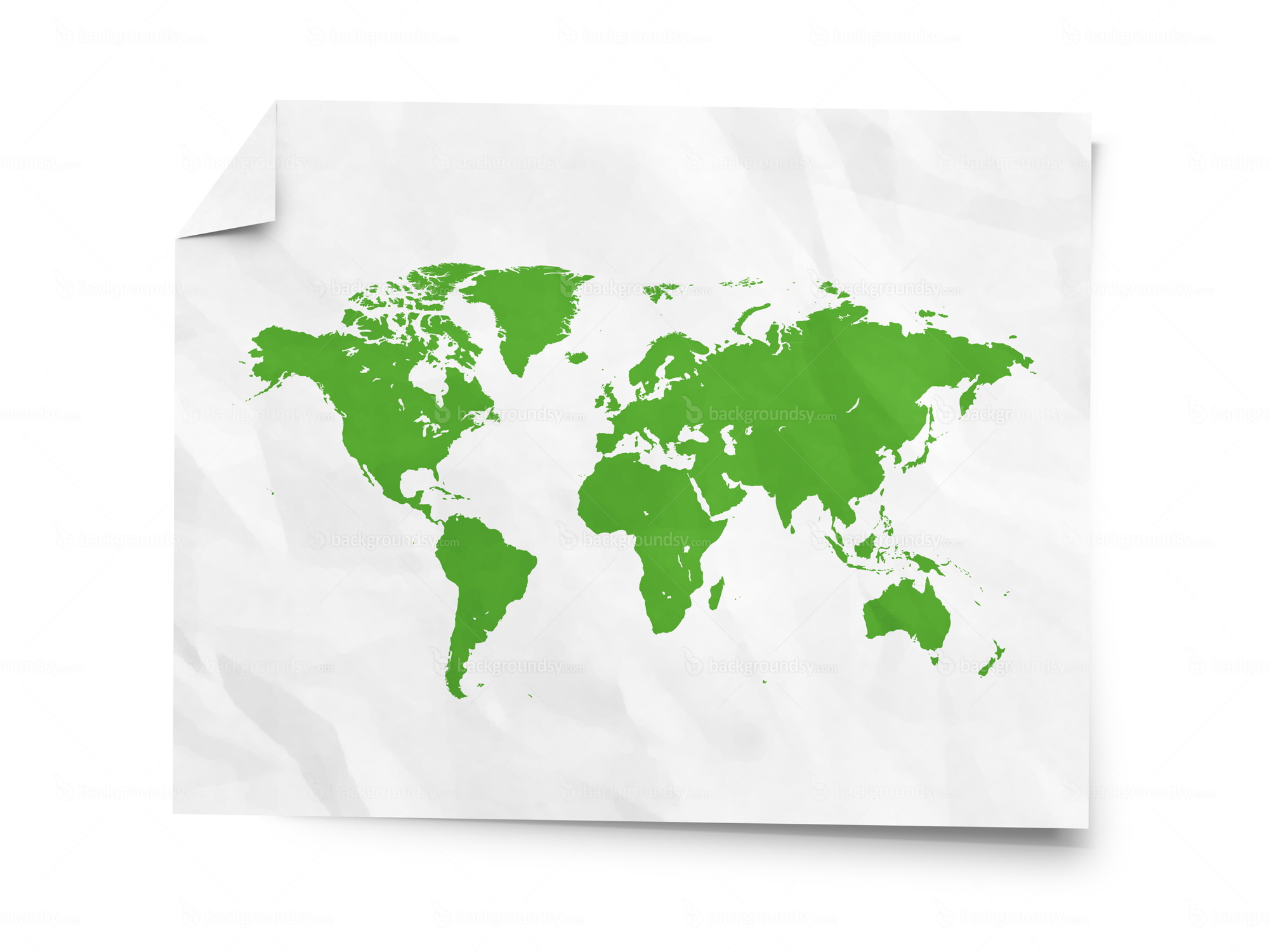 world map on crumpled paper