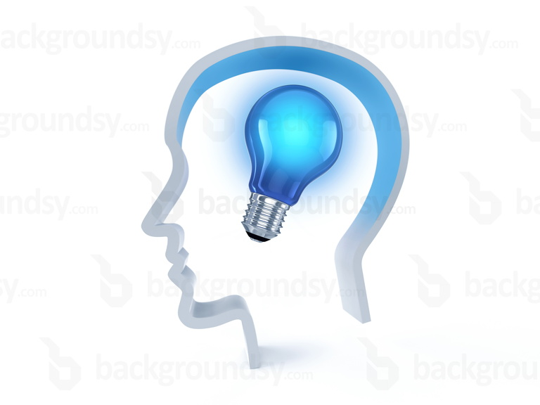 Light bulb idea, 3D human head