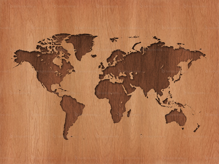 wooden earth map